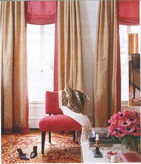 Pink And Gold Curtains Peony Pink Curved Shade With Pink And Gold Striped Panel Curtains Ad Window Treatments