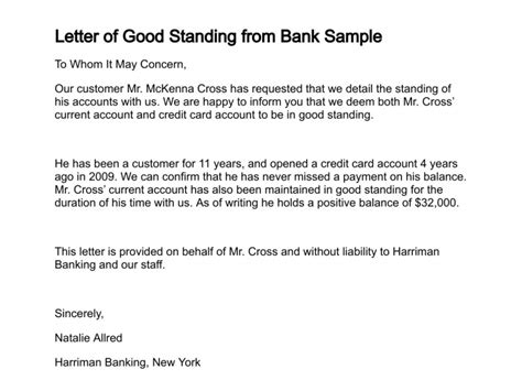 Bank Letter In Standing Letter Of Standing