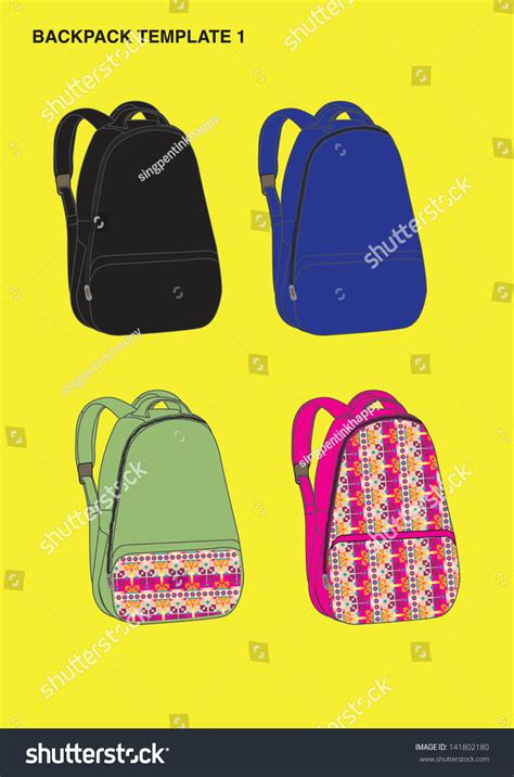 Backpack Design Template Stock Vector Illustration 141802180 Shutterstock Backpack Design Template