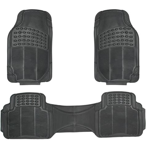 car floor mats for all weather rubber 3pc set semi custom fit heavy duty black ebay