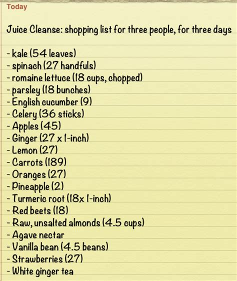 5 Day Juice Detox Shopping List by Green Goblin Juice And A Shopping List