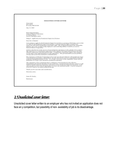 application letter meaning unsolicited application letter definition
