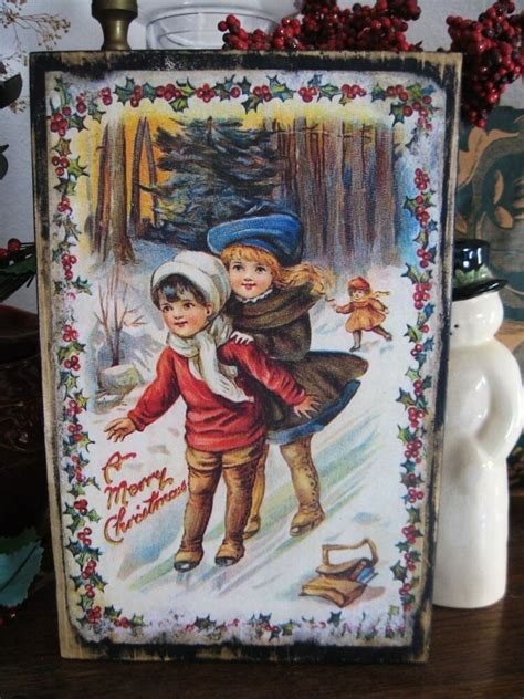 primitive christmas sign merry christmas sliding vintage postcard reproduction ebay