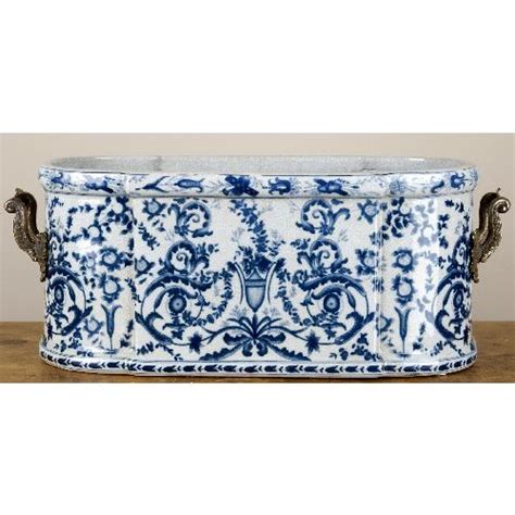 Large Blue And White Planter by Blue And White Decorative Planter Footbath Bronze Handles