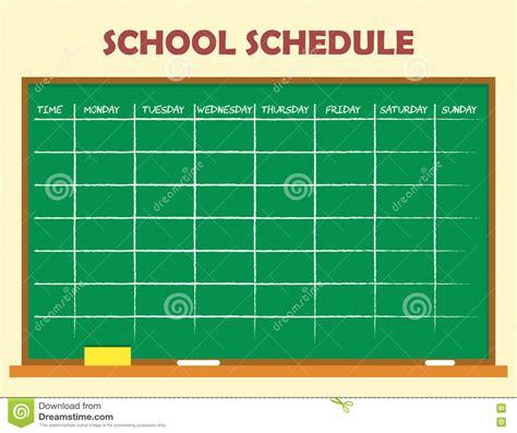 school schedule template stock vector illustration of