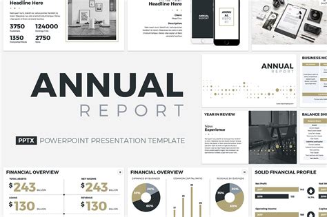 Annual Report Powerpoint Template Presentation Templates Creative Market Annual Report Ppt Template