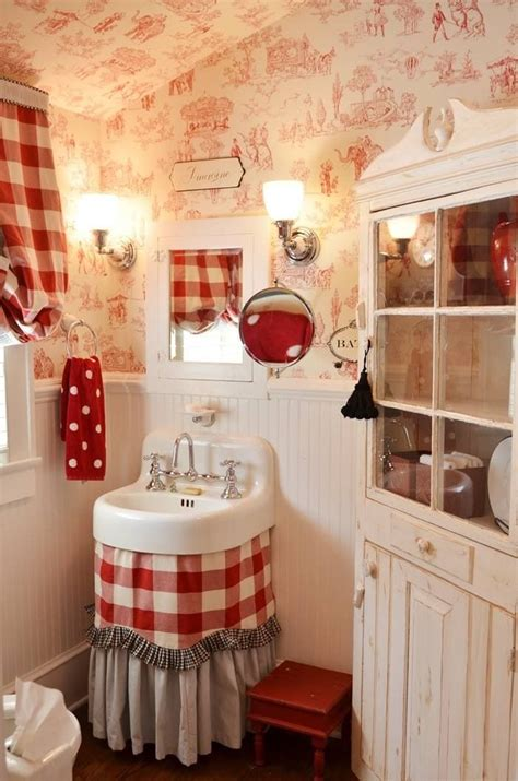 red bathroom with toile wallpaper country french decor