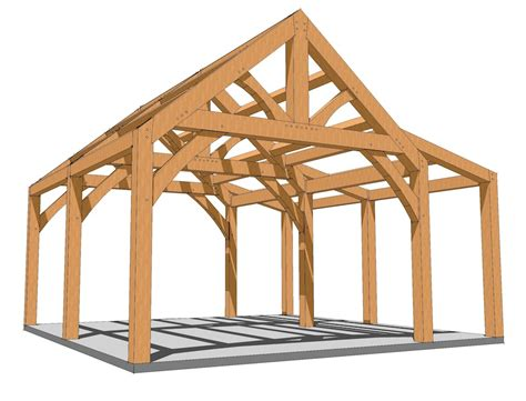 king post  shed roof plan timber frame hq