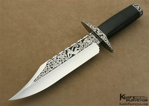 engraved knife blackwood bowie custom knife by fred weber