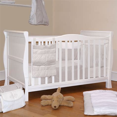bed cot 4baby 3 in 1 white sleigh cot bed baby cotbed with foam safety mattress ebay