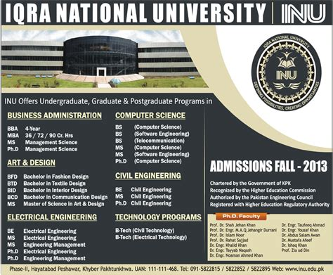 Aptitude Test For Mba In Iqra by Iqra National Peshawar Admission Opens For Bba