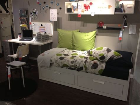 Small Spare Bedroom Ideas ikea brimnes day bed unfolds into a full size in a small