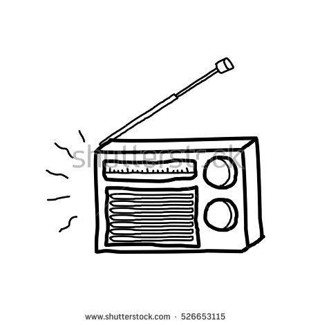 doodle radio radio doodle stock vector 526653115