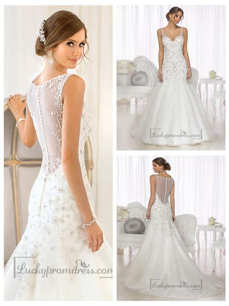 wedding dress beaded back mermaid beaded straps bodice v neck wedding dresses with