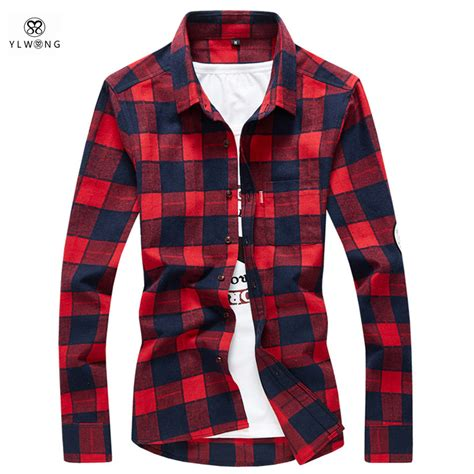 Kemeja Flannel Flannel Branded Premium 23 ylwong luxury brand shirt plaid flannel cotton camisa masculina mens dress shirts