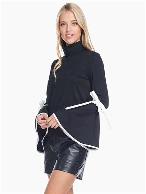 Blouse Turtle tov black trumpet turtle neck blouse modishonline