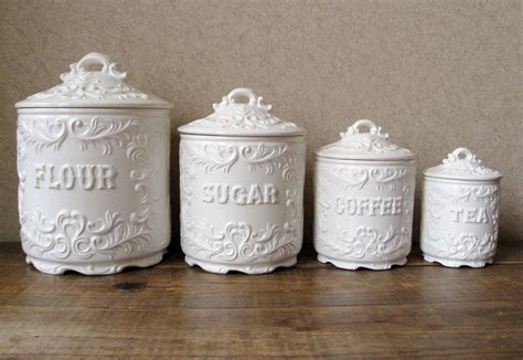 antique kitchen canister sets vintage canister set antique white with ornate details