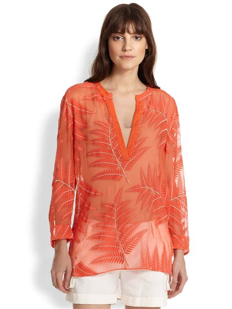 Alice   olivia Embroidered Sheer Silk Chiffon Tunic in Pink   Lyst