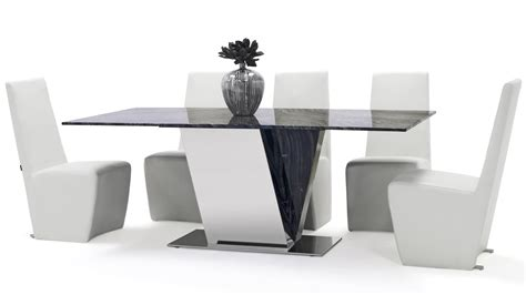Black And White Marble Dining Table Barolo Marble Dining Table With Polished Stainless Steel Base Zuri Furniture