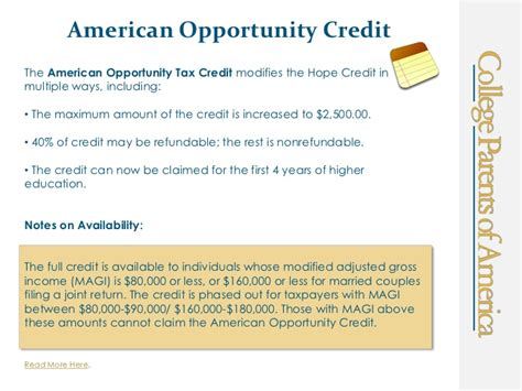 American Opportunity Tax Credit Mba by Higher Education Tax Credits And Deductions
