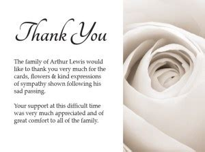 appreciation letter after a burial sympathy thank you cards