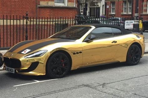 gold maserati car learner drives gold plated maserati gaskings
