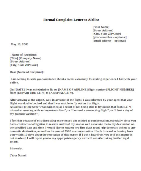 sample formal complaint letter templates