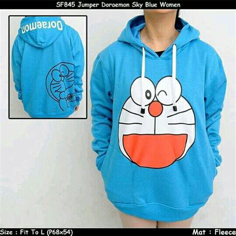 Jaket Doraemon Hodie Tex Turkis sweater anime sweater doraemon muka turkis sweater cotton fleece tebal elevenia