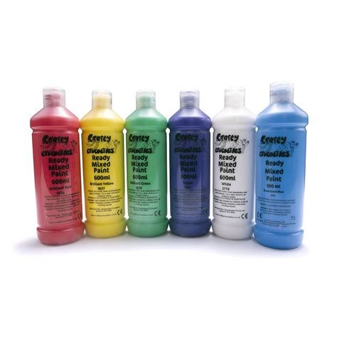 Ready Mixed Washable Paint Pack 6 X 600ml Acrylic