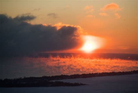 sea smoke photos video frigid temps bring gorgeous sea smoke to