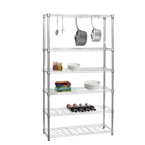 chrome shelving unit with 4 shelves 2 wine racks and 6 s hooks