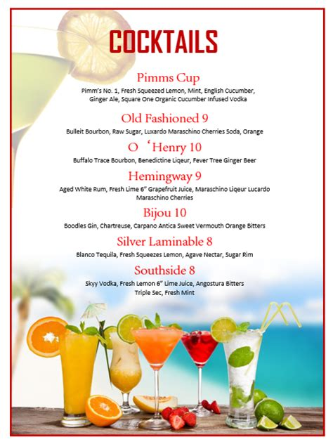 fruits cocktail menu template printable templates