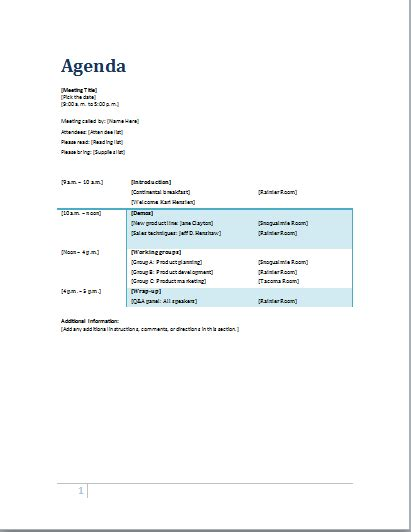 Professional Agenda Templates For Ms Word Document Templates Microsoft Office Agenda Templates