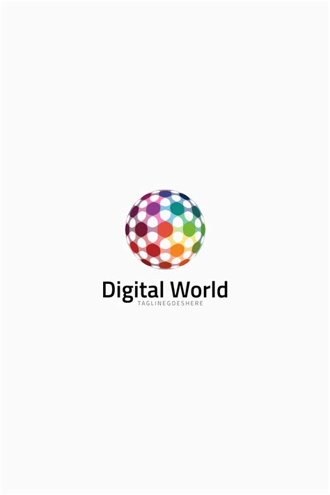 colorful digital world logo template