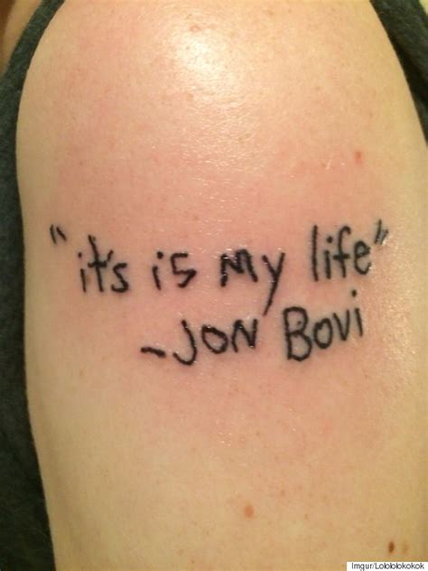 tattoo mistakes bon jovi fan gets jon bovi riddled with spelling
