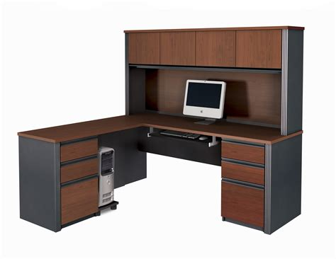 Wooden Home Office Desk Modern L Shaped White Gray Solid Wood Desk With Shelf And Cabinet Storage Combination With Brown