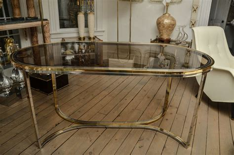 Oval Glass Top Dining Table Chrome And Brass Oval Dining Table With Smoked Glass Top At 1stdibs