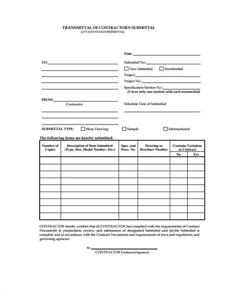 Transmittal Document Format Sle Submittal Transmittal Form 7 Documents In Pdf Word