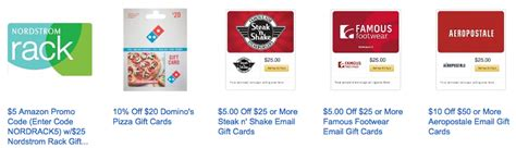 Discount Aeropostale Gift Cards - gift card deals save 20 off famous footwear nordstrom rack steak shake domino s
