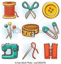 Stock Illustration Of Set Of Clipart Vector Of Set Of 9 Sewing Tools Icons Csp13003754 Search Clip Illustration