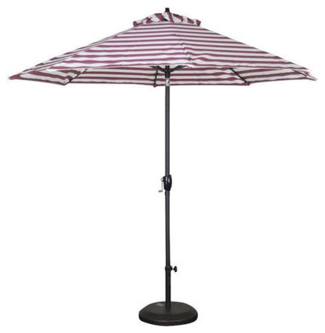 and white stripe 9 market patio umbrella with push