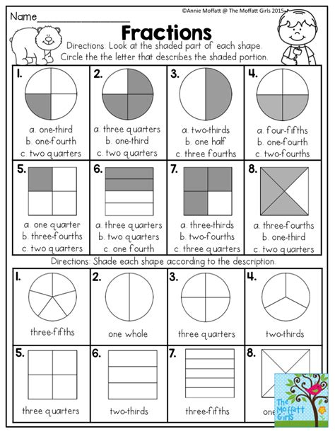 get printable area c fractions look at the shaded part of each shape and