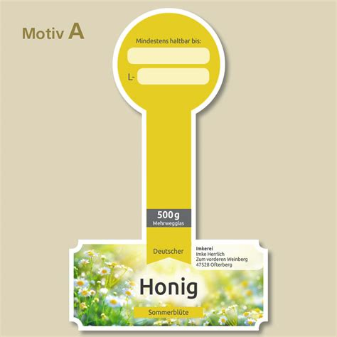Honig Etiketten Gestalten Und Drucken by Honigetiketten Auflage 500 St 252 Ck H Buschhausen