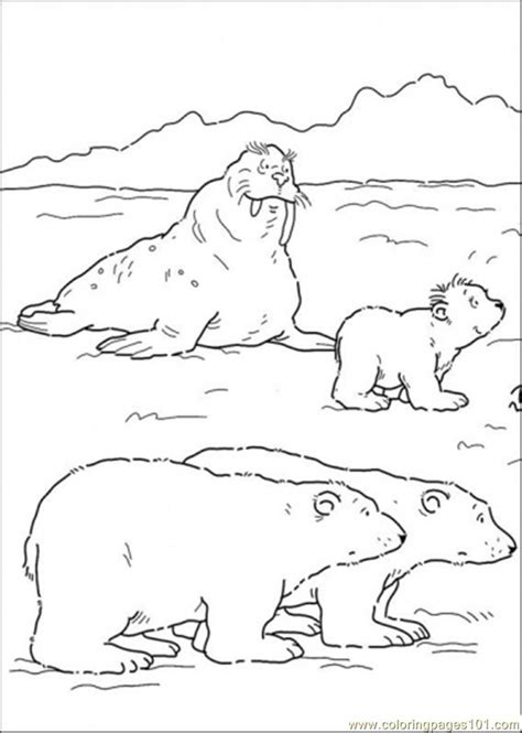 free coloring pages of polar bear and cubs