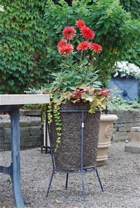 Outdoor Standing Clock With Planter by Fiber Pot In Galvanized Steel Stand Traditional