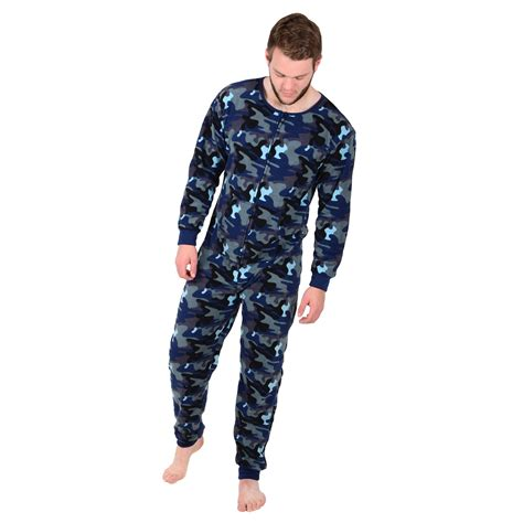 all in one piece mens cosy fleece all in one piece pyjamas jump sleep suit pjs nightwear new ebay