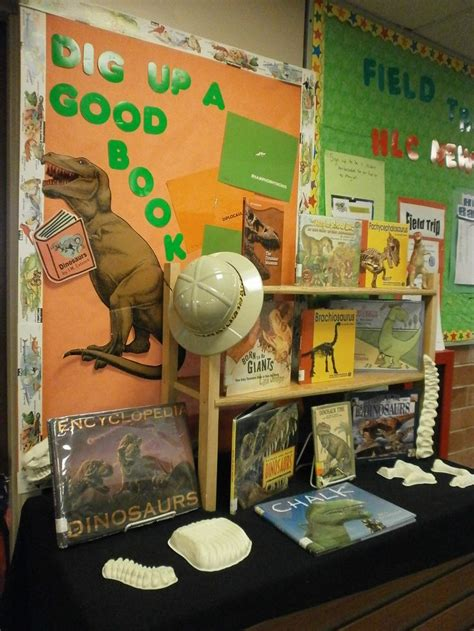 themes for book displays dinosaur book display bulletin board may be good for dig