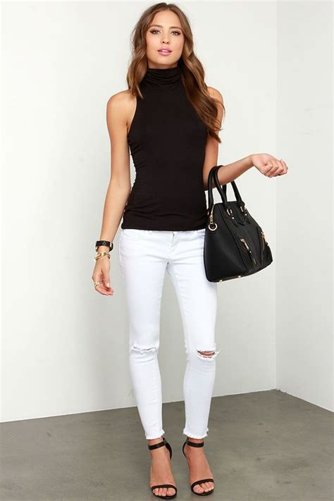 Turtleneck Printed Fit Top best 25 sleeveless tops ideas on stitch fit