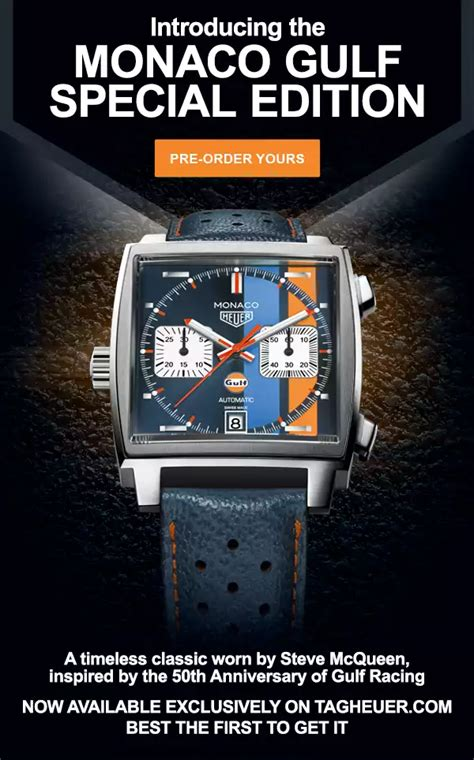 Tag Heuer 50 Th Anniversary Limited Edition Brs 2017 2018 tag heuer monaco 50th anniversary of gulf racing special edition caw211r