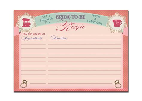 bridal shower recipe cards templates recipe card bridal shower vintage pink 5x7 4x6 3 5x5 diy